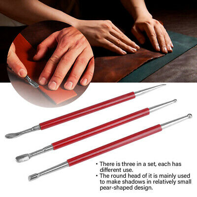 3Pcs Leather Press Rub Tool Leather Modeling Carving Tools for Leather Craft DIY