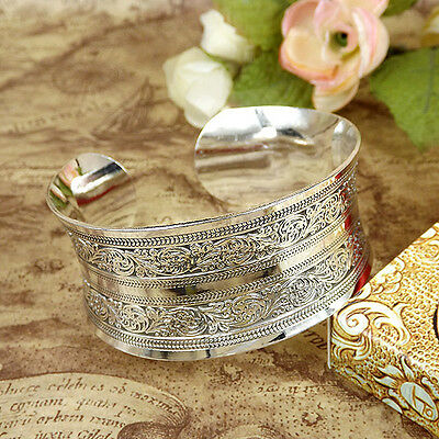 New Tibetan Silver Cuff bangles Carved pattern Bohemian vintage Bracelets 1pcs