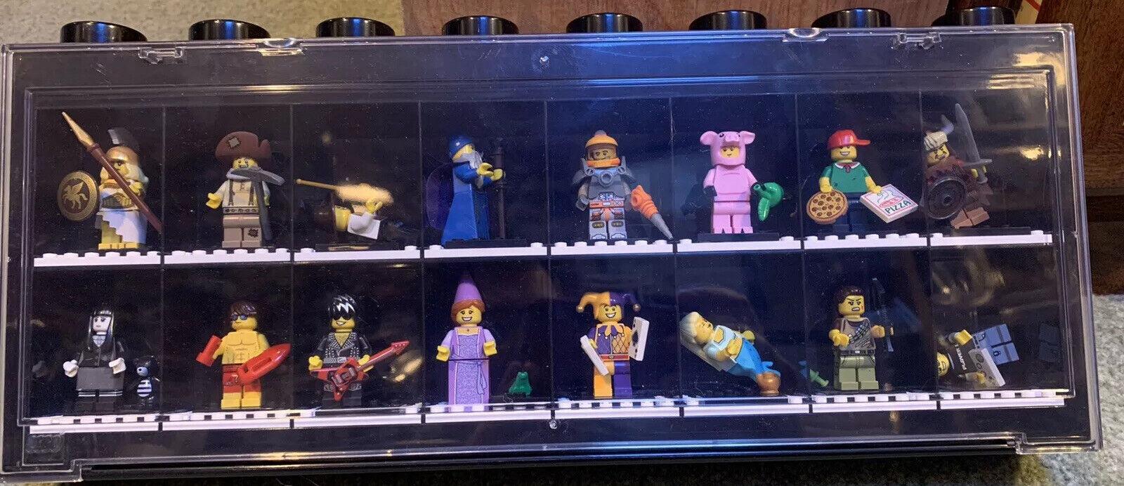 "2013 Big 17"" LEGO MINIFIGURES SET COMPLETE + Display Case KISS, Pizza, Jester ++"