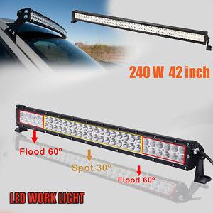 240W-42Inch-LED-LIGHT-BAR-FLOOD-SPOT-OFFROAD-WORK-LAMP-Off-Road-4WD-BOAT-12V-24V