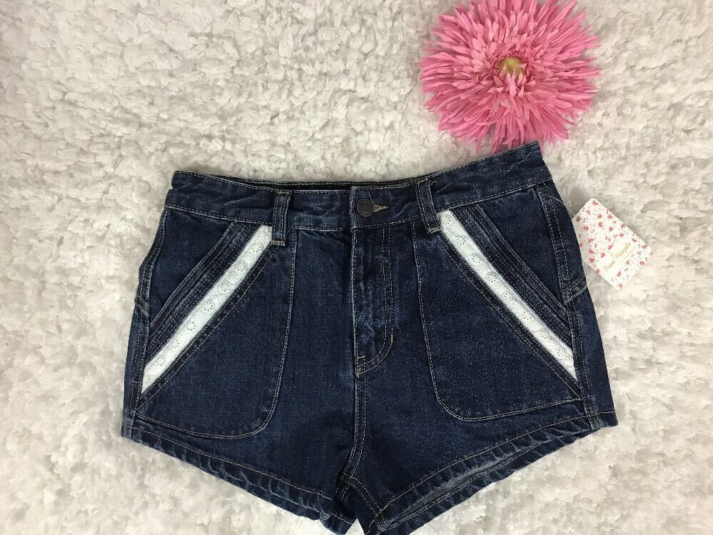 Free People Women's Lace Short Jean Short Dark Denim Sz 26 NWT