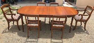 Details About Unique Antiques China Hutch And Mahogany Dining Table By Tell City Chairs Co