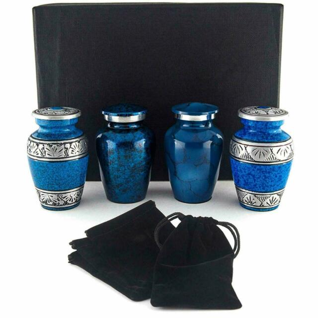 Blue Mini Keepsake Urn Set of 4 Small Cremation Urns for Human Ashes or Pet Ash