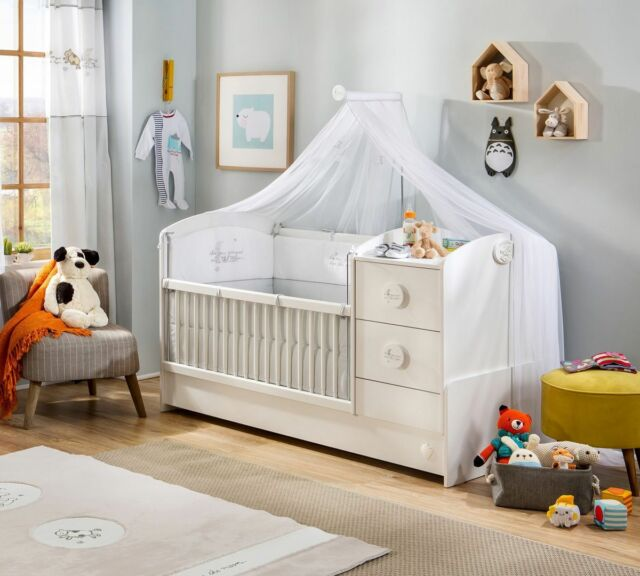 Babybett Weiß Jugendbett  Kinderbett Gitterbett umbaubar Baby Cotton