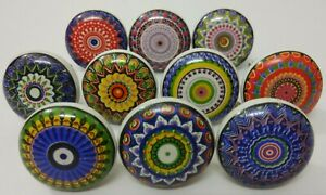 Multicolor Assorted Flat Ceramic Knobs Kitchen Cabinet Drawer Knobs Cabinet Knob