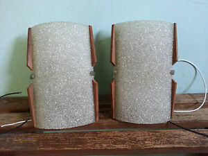 Pair Mid Century Modern Wall Sconce Lights Ice Texture with Teak Trim