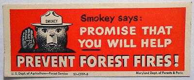 1966 Smokey Bear RED JEEP SEZ BLOTTER Bookmark USFS MINT US Ephemera FP-5-4661