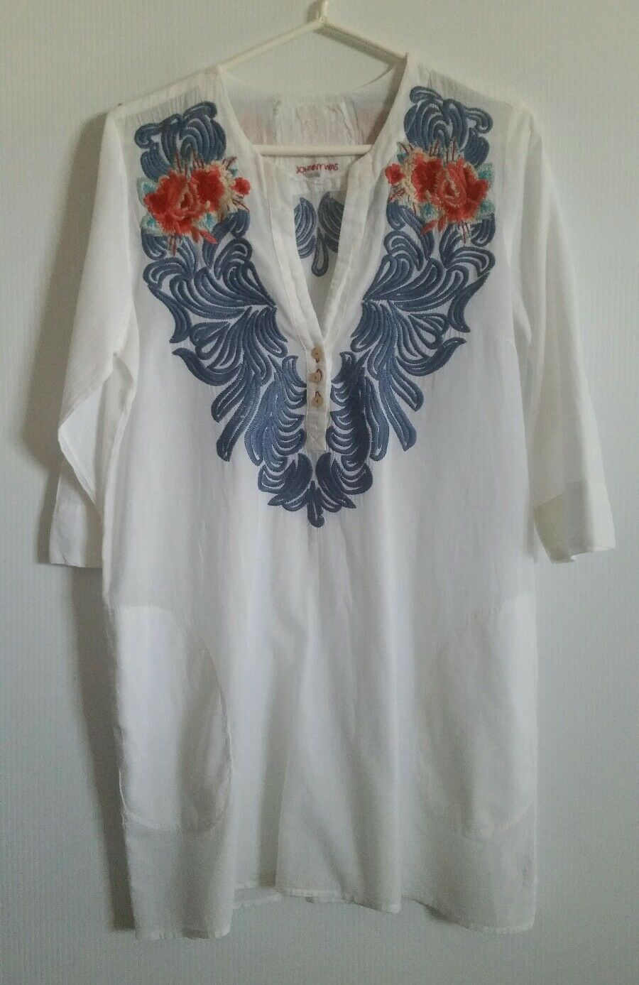 Johnny Was Was Was 3J Workshop Floral Embroidered  Sz S Small Tunic Top Cover Up Dress 6d37b8
