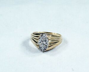 Dainty Diamond Cluster Dinner Ring 14k 15 Diamonds Ebay