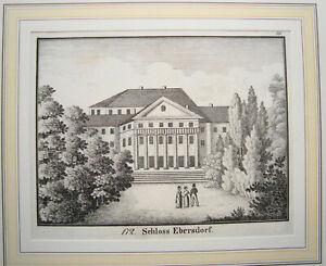 Schloss-Ebersdorf-Saalburg-Ebersdorf-Thueringen-echte-alte-Lithographie-1840