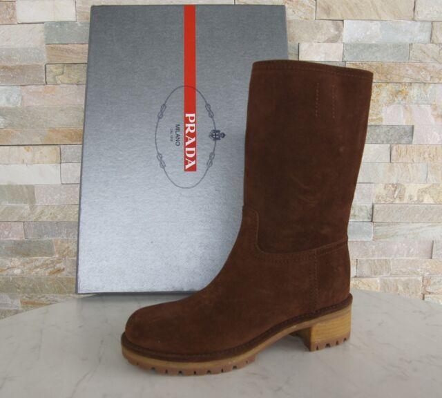 Prada Stiefel Gr 39 boots Schuhe shoes 3U5901 Stiefeletten braun NEU UVP 590€