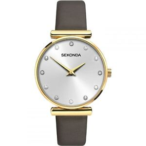 Armbanduhren Modestil Sekonda Editions Ladies Silver Dial Brown Leather Strap Watch 2471 Rrp £44.99 Gesundheit Effektiv StäRken