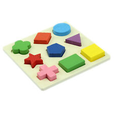 Baby Wooden Cognitive Boards Cognitive Educational Toy Geometry Block Puzzle TS