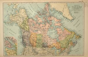 1908 Landkarte Dominion Von Kanada Alberta Manitoba Vancouver Nova Scotia