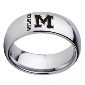 Michigan-Wolverines-Team-Silver-Stainless-Steel-Men-s-Band-Ring-Size-6-13
