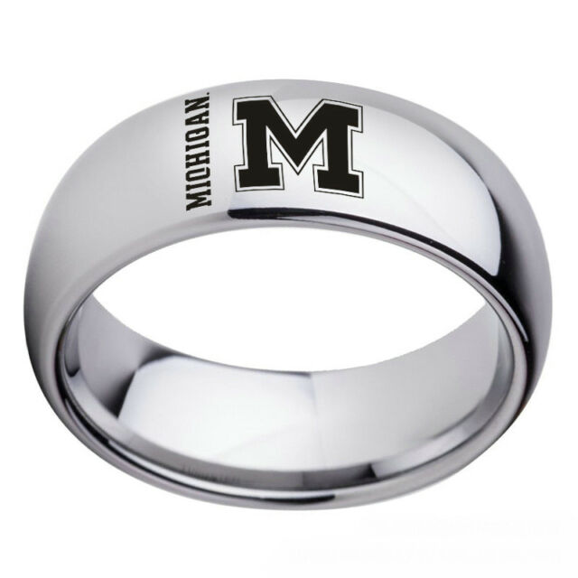 Michigan Wolverines Team Silver Stainless Steel Men's Band Ring Size 6-13