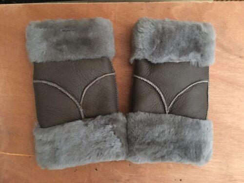 brown grey women 100/% genuine real leather sheepskin finger less gloves