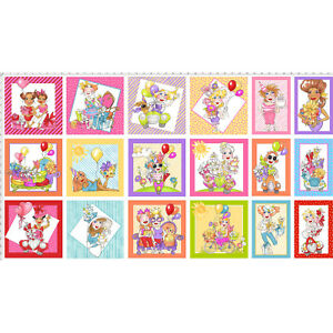 Party-Birthday-Presents-Cake-Balloons-Cotton-Fabric-Loralie-TRIMMED-23-034-Panel