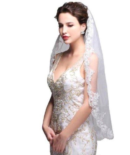 Velo finemente sposa velo 1 posizione pettine punta 1-VELI cm 90 bianco da sposa Ivory