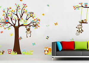 Details zu Wandtattoo Wandsticker Kinderzimmer Wandaufkleber Wanddeko Tiere  Baum Baby #144