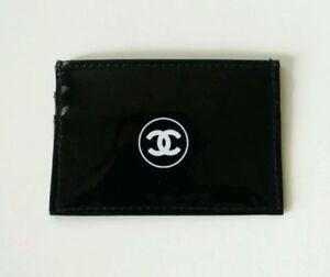 Chanel beauty makeup bag black patent business card holder wallet image is loading chanel beauty makeup bag black patent business card reheart Choice Image