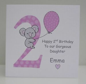 Image Is Loading Personalised Girls 2nd Birthday Card Daughter Granddaughter Niece