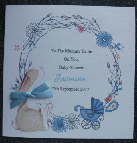 BUNNY WREATH HANDMADE PERSONALISED  BABY SHOWER CARD