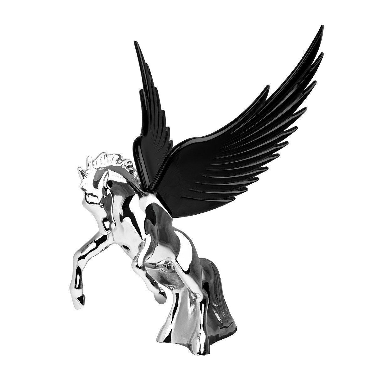 Hood Ornament Flying Stallion Chrome W Black Windrider