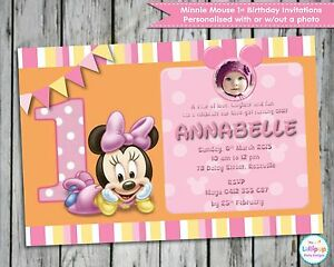Image Is Loading MINNIE MOUSE 1ST FIRST BIRTHDAY PERSONALISED INVITATIONS CARDS