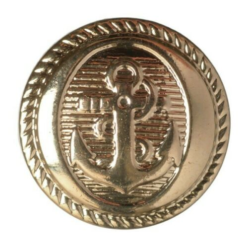 15mm Pack of 7 Hemline Metal Nautical Anchor Design Shank Back Buttons