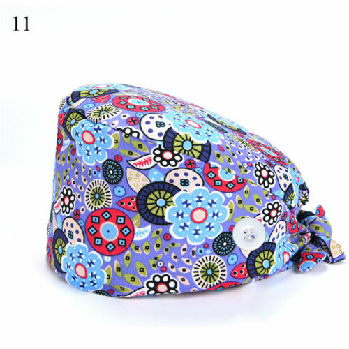 Doctor Nurse Bouffant Hat Surgical Scrub Cap Adjustable Head Cover with Buttons