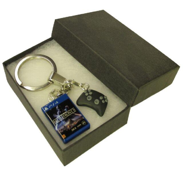 Handmade Fimo PS4 Gaming Keyring Star Wars Battlefront II 2 Game & Controller