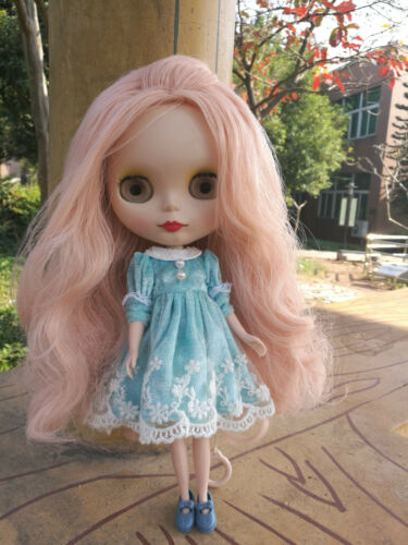 "12/"" Neo Blythe Doll from Factory Nude Doll Matte Face Light Pink Long Curly Hair"