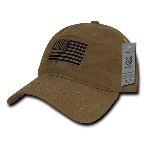 63df7543148ec Details about Coyote USA US American Flag United States America Ripstop  Polo Baseball Hat Cap