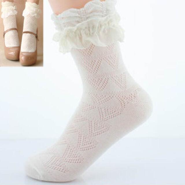 1 Pair Girls Womens Retro Cute Lace Ruffle Frilly Ankle Socks Short Socks Hot
