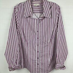Coldwater-Creek-Women-button-down-shirt-Blouse-Size-1X-purple-stripe-long-sleeve