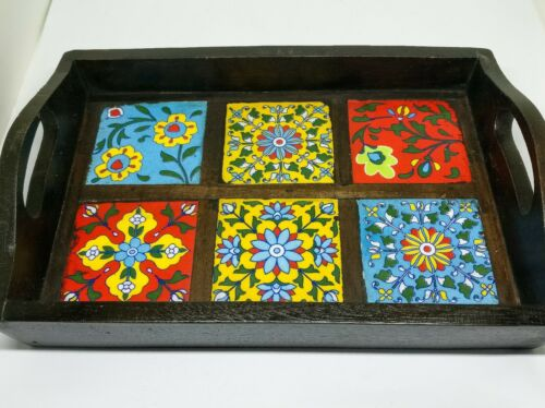 Large Mango wood tray.Hand painted ceramics tiles,serving,tea,coffee,tray.6cups