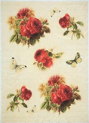 Rice Paper for Decoupage Decopatch Scrapbook Craft Sheet A//3 Vintage Red Roses