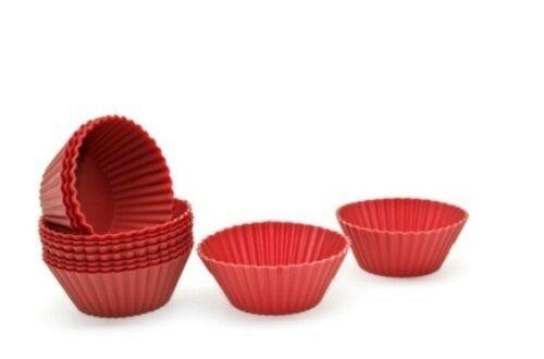 6 premium silicone ronde cup cake cases moules rouge cuisson chaud résistant 7.5 cm