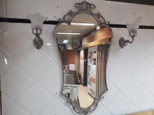 Specchio Bagno Con Cornice Argento.Dettagli Su Antico Specchio Con Cornice Argento Napoleonico Salotto Bagno