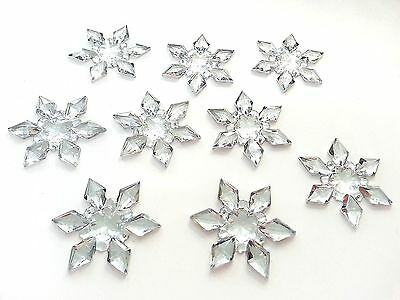 10 x 45mm CLEAR Acryl Rhinestone SNOWFLAKE Diamante Wedding Stick/Sew On Toppers