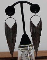 Circular Sector Tassel Ear Rings Black Tassel Dangel Pierced Ear Party Fancy