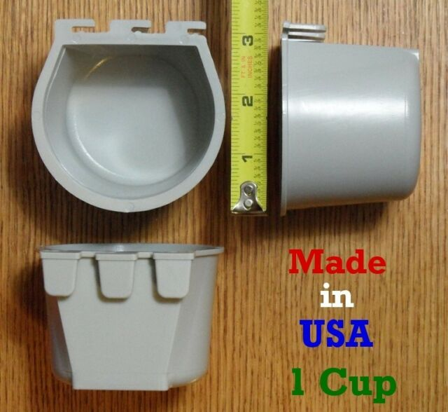 4 pcs Gray 1 Cup / 8 fl oz Hanging Feed and Water Cage Cups Chicken