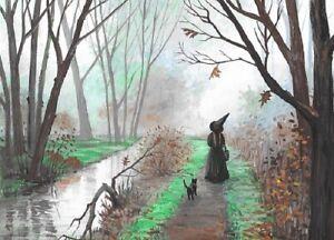 5X7-PRINT-OF-PAINTING-RYTA-HALLOWEEN-BLACK-CAT-WITCH-HAUNTED-CREEK-LANDSCAPE-ART