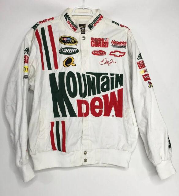 Dale Earnhardt Jr Mens L Mountain Dew White Denim Jacket