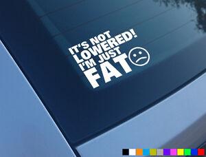 ITS-NOT-LOWERED-IM-FAT-FUNNY-CAR-STICKER-DECAL-BUMPER-WINDOW-VAN-DUB-VINYL