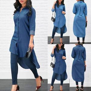 Fashion-women-039-s-Blue-Denim-blouse-Long-Sleeve-Casual-Loose-Shirt-Mini-Dress