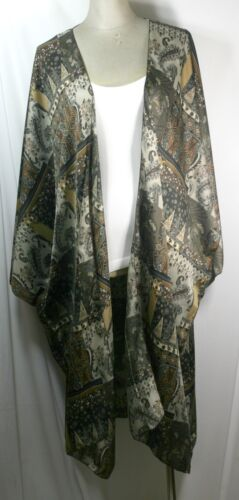 Cardigan imprimé taille matelassé shamoz bleu marron vert carreaux grande kimono Soie long A6q0Ar4w
