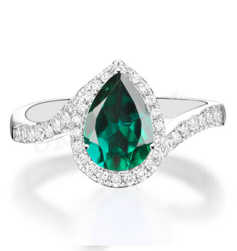 1.55Ct Natural Green Emerald EGL Certified Diamond Ring In Real 14KT White gold