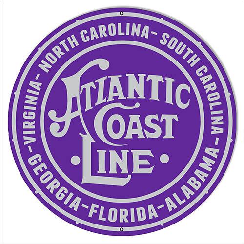 "Atlantic Coast Line Railroad Herald Reproduction Sign 14/""x14/"" Round"